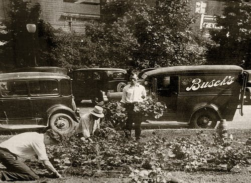 A turn of the century photograph, featuring arrangements near a very early delivery van